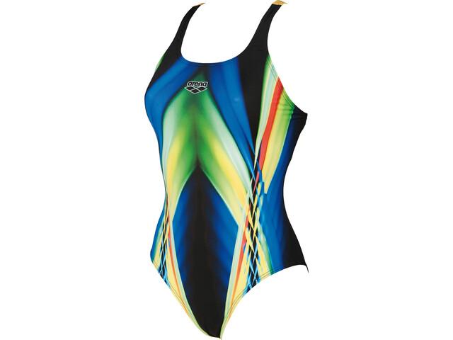 arena Iridiscent Swim-Pro Back One Piece Swimsuit Women black-soft green